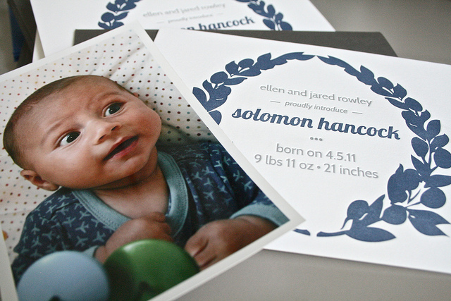 Solomon | Letterpress Birth Announcement